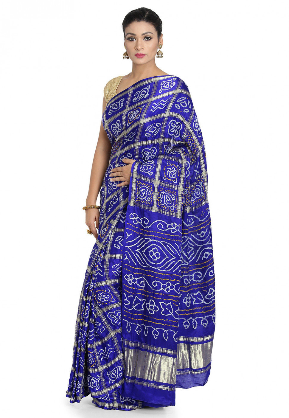 Pure Satin Silk Gharchola Saree in Royal Blue : SJN7214