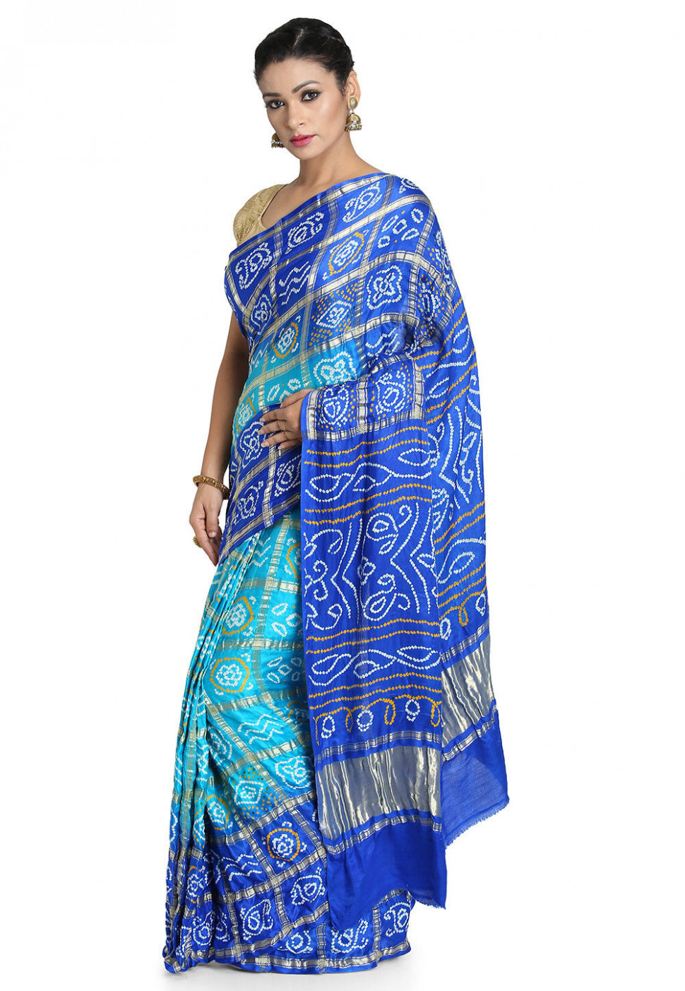 Pure Satin Silk Gharchola Saree in Turquoise and Royal