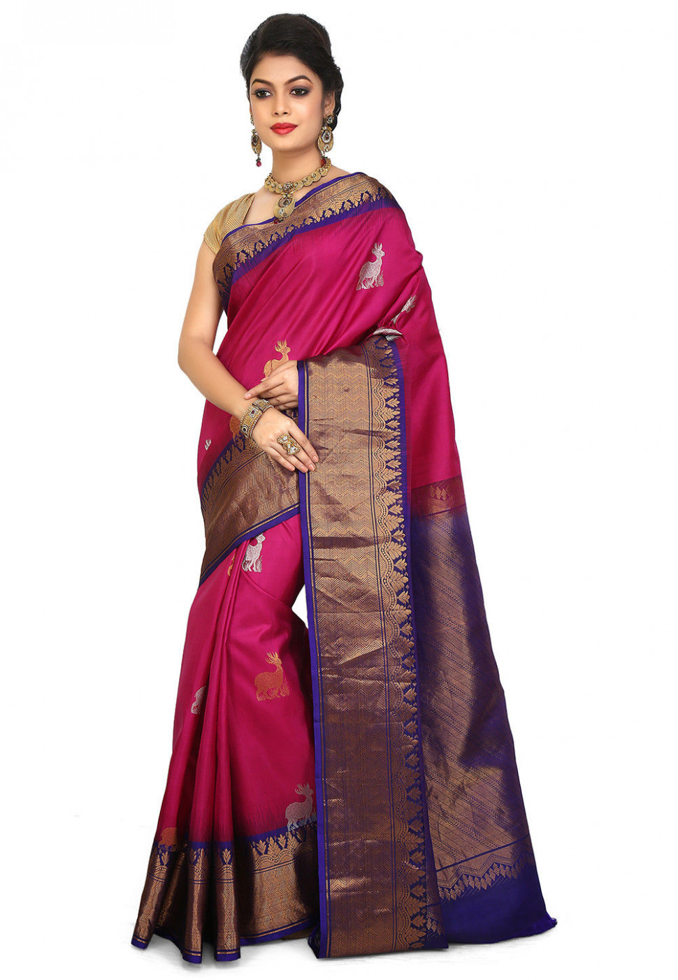 Pure Silk Handloom Gadwal Saree in Fuchsia : STGA205