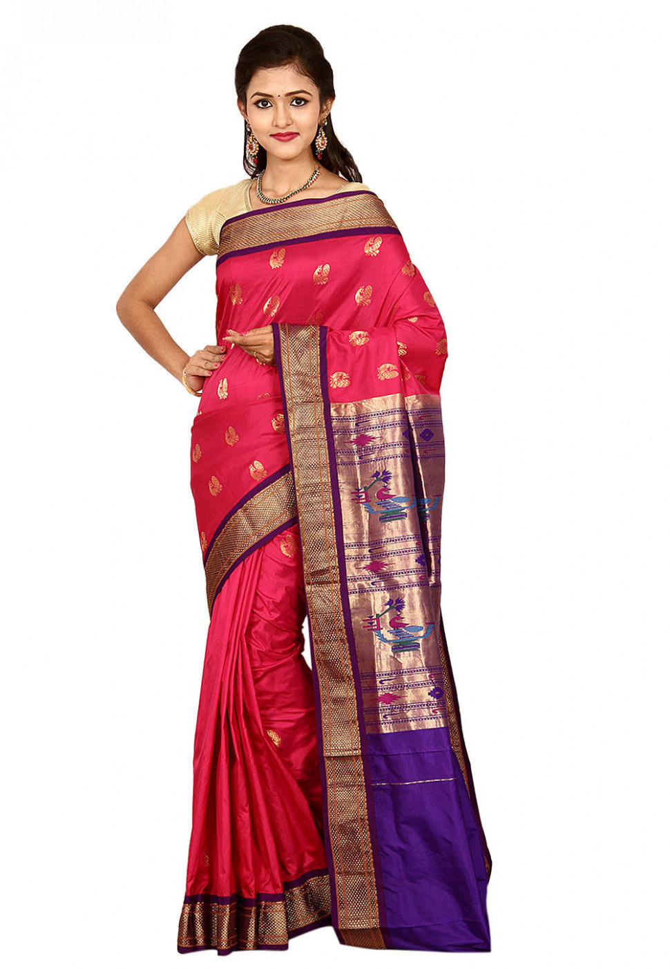 Pure Silk Paithani Saree in Coral Pink : STBN96