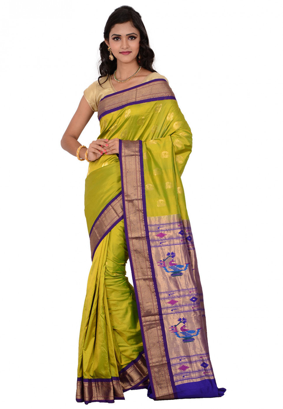 Pure Silk Paithani Saree in Light Olive Green : STBN89
