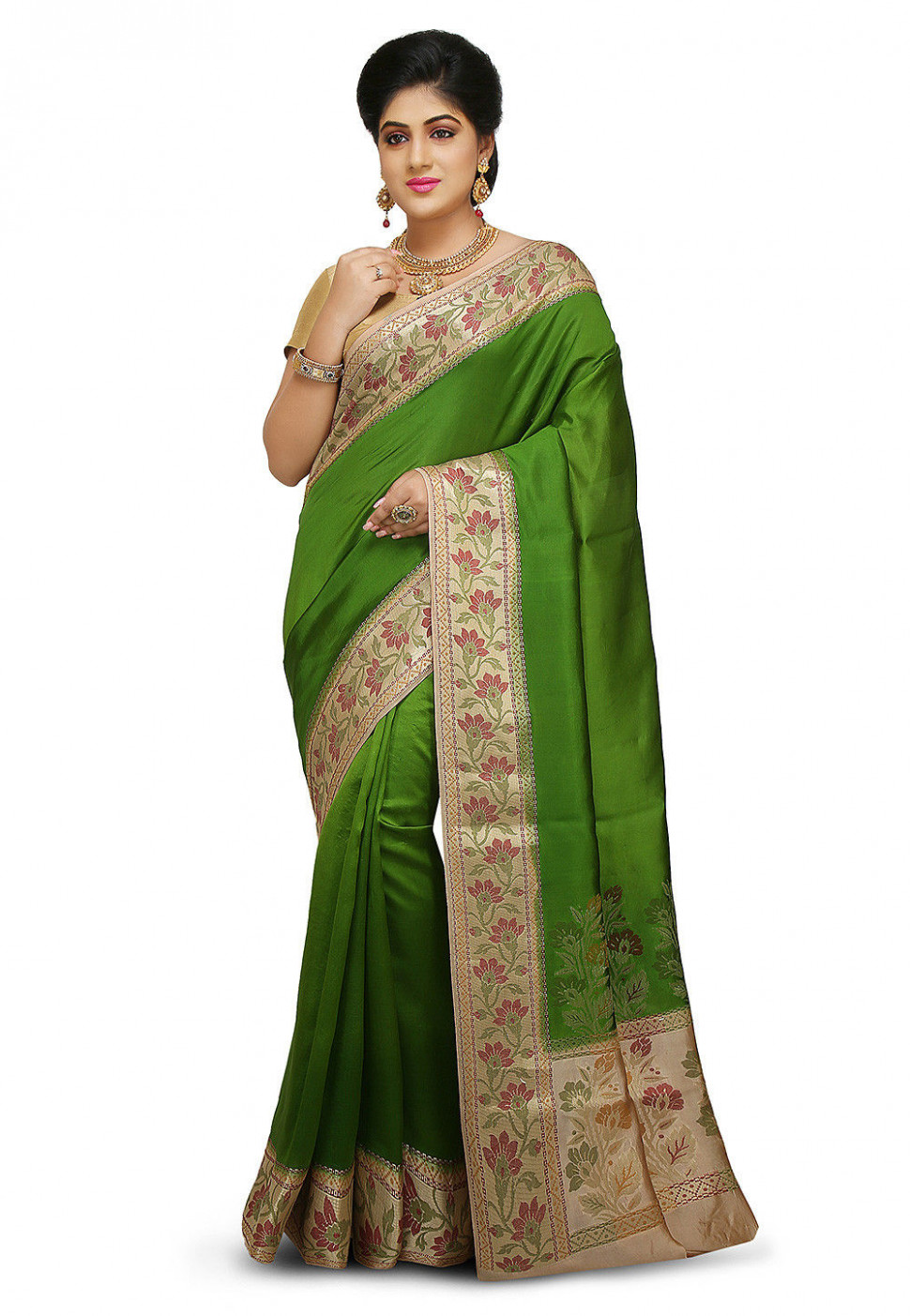 Pure Silk Saree in Dark Olive Green : SNEA1120