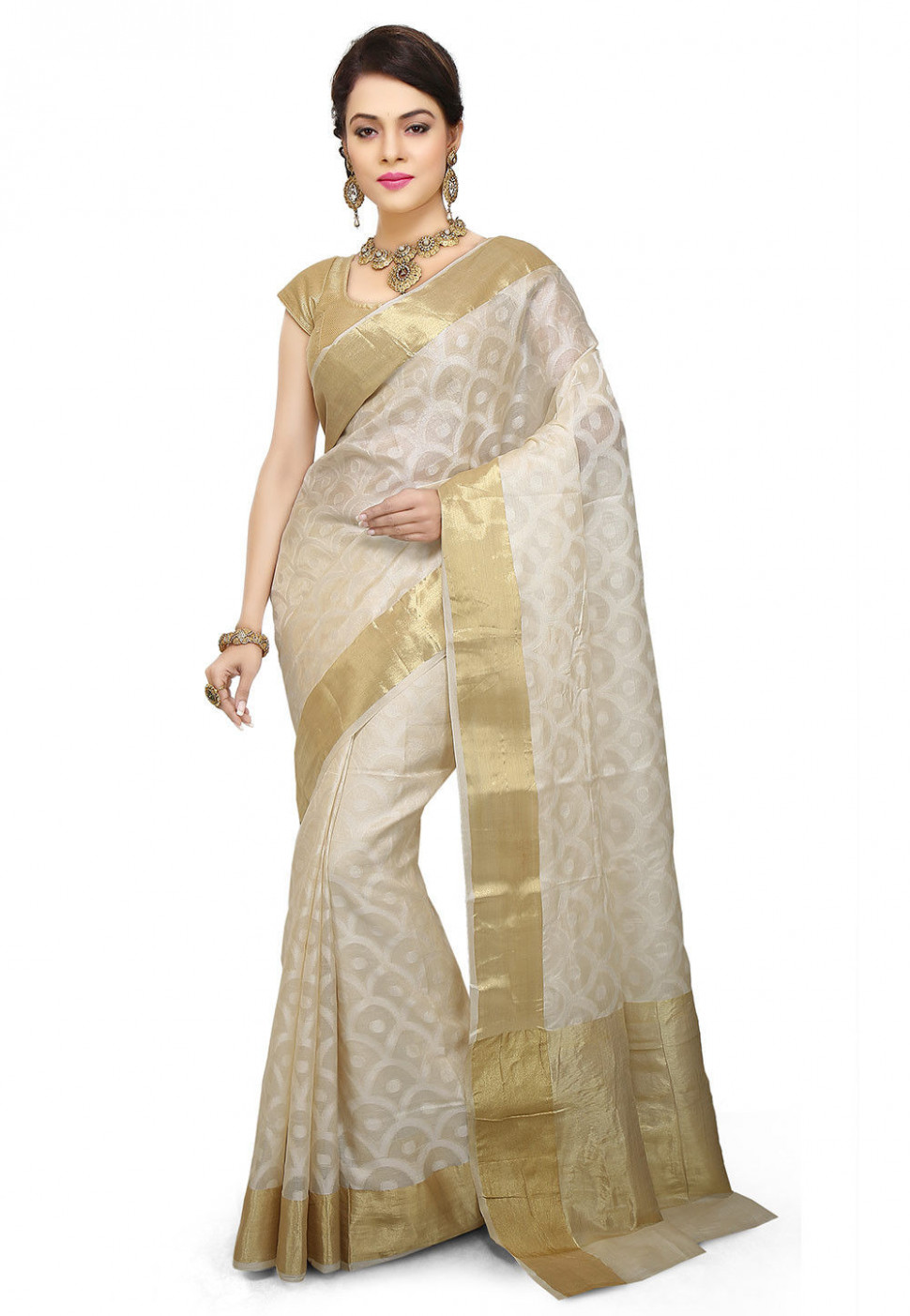 Pure Silk Saree in Off White : SNEA1102