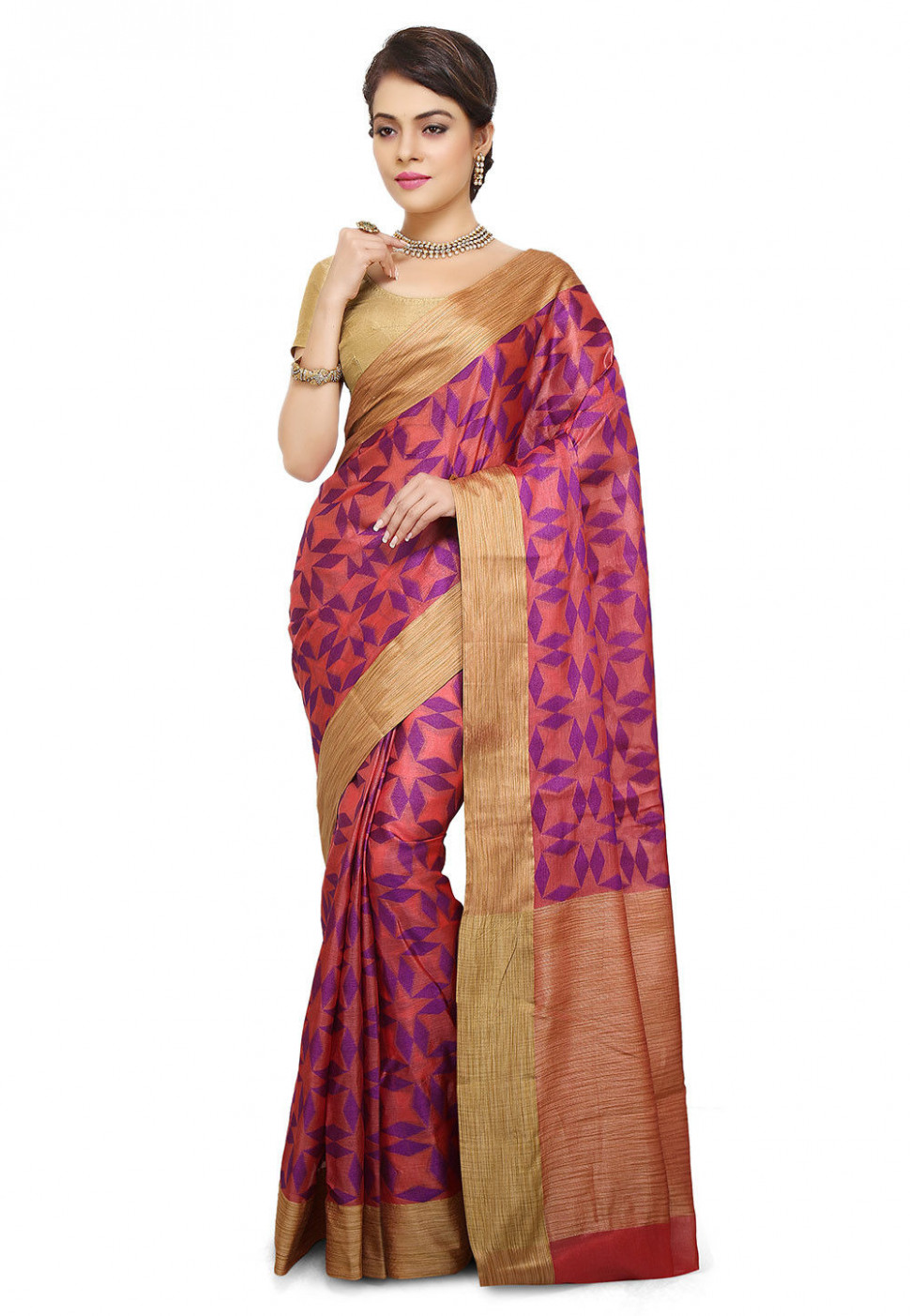 Pure Silk Saree in Peach : SNEA1100 - silk saree