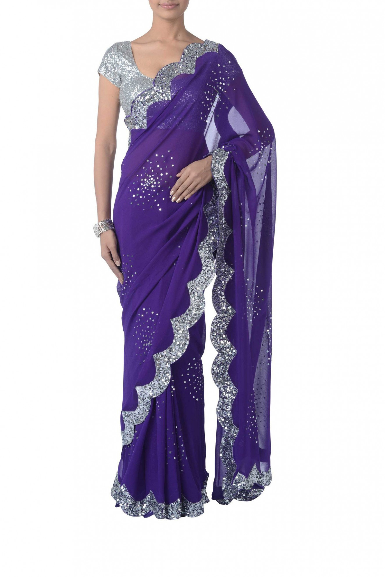Purple & Silver Sequin Saree  VIVA-LUXE