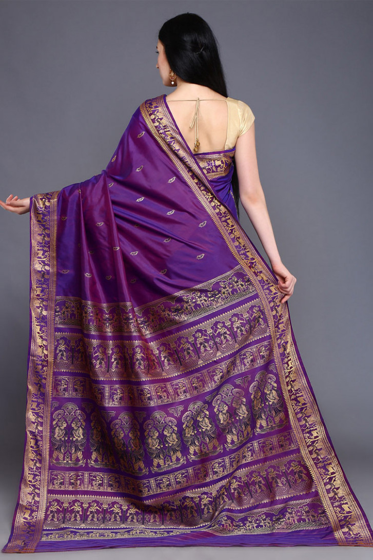 Purple Baluchari Silk Saree  Sarees  Buddha And Beyond