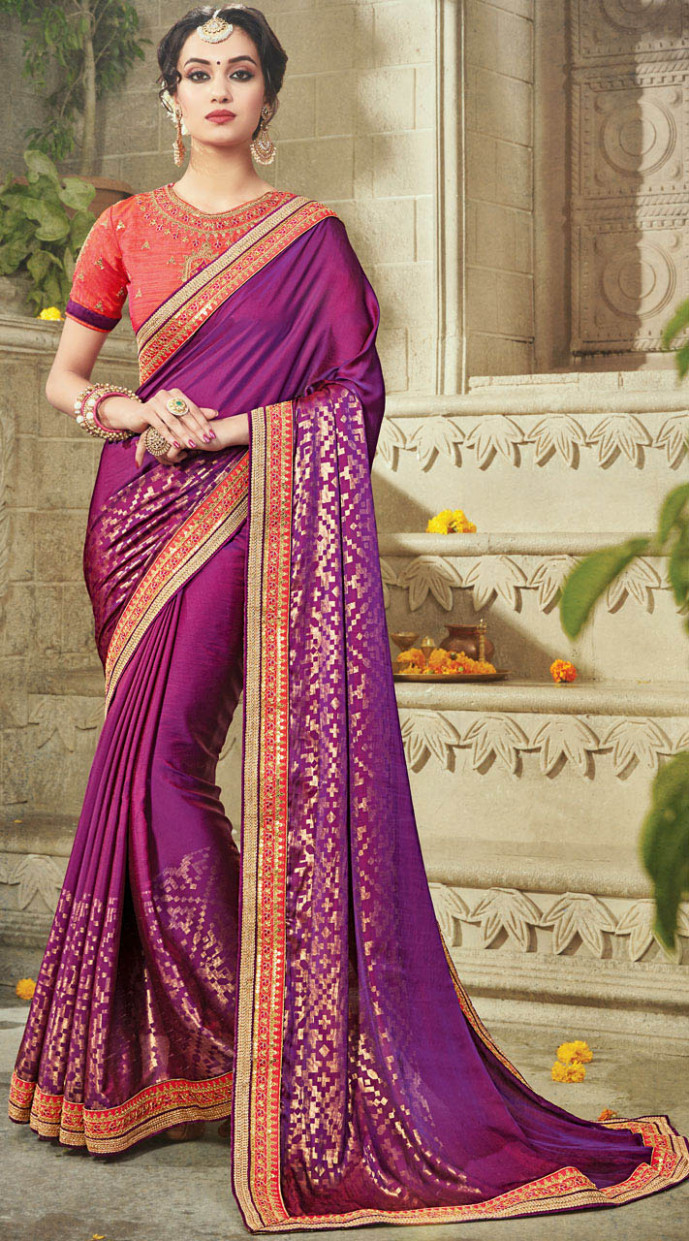 Purple Border Work Saree With Embroidered Blouse BR40672