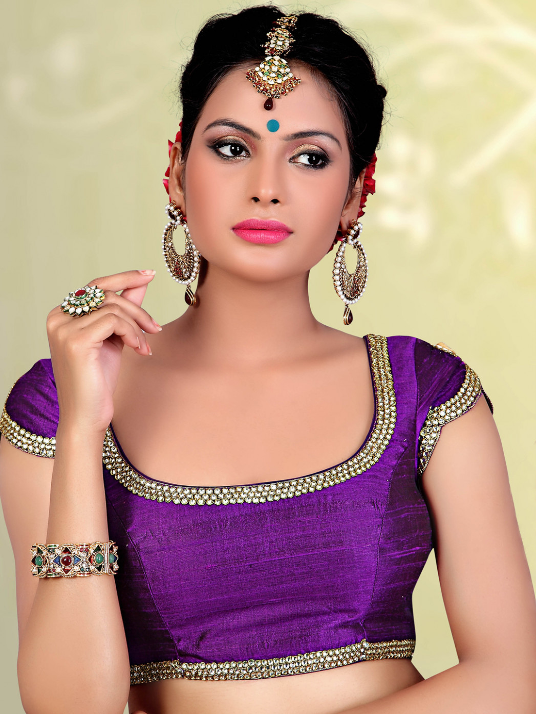 Purple raw silk readymade designer saree blouse - G3