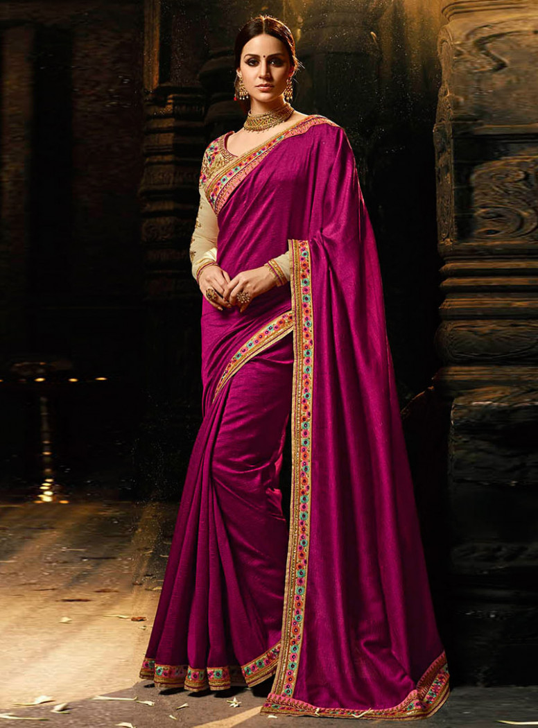 Purple Silk Saree With Embroidered Blouse 118359