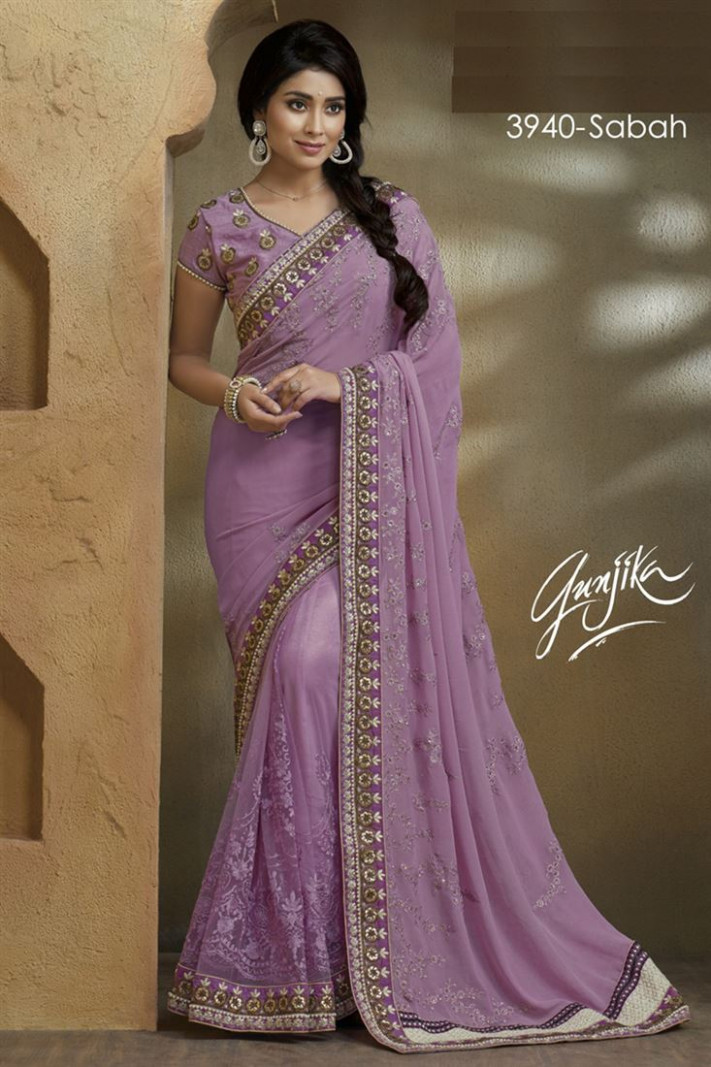 Pyaji Embroidery Georgette-Net Fancy Saree with Blouse