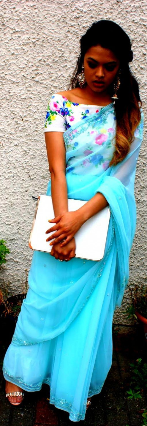 """""""Crop Top and Saree"""" Awesome post by @fashion_pick #"""