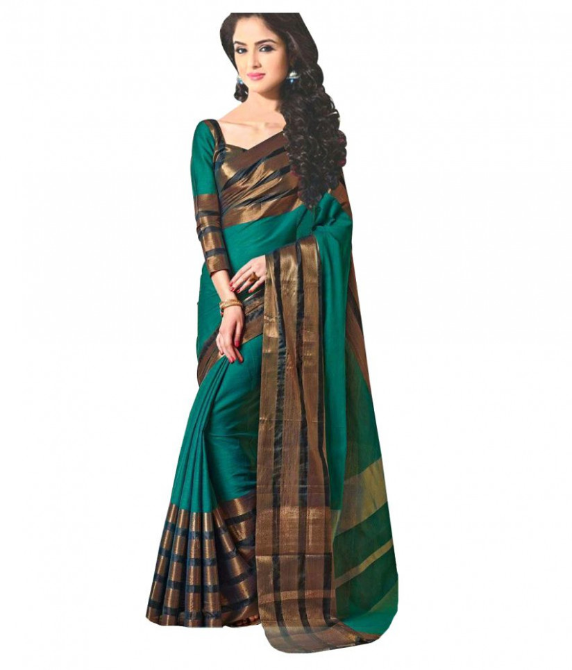 R G Traders Green and Brown Cotton Silk Saree - Buy R G