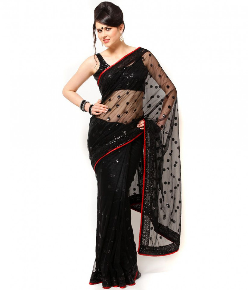 Ragini Sarees Black Net Saree - Buy Ragini Sarees Black