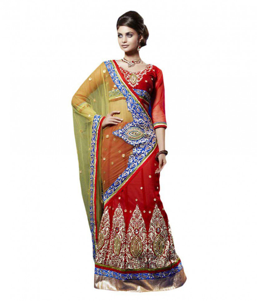 Rajasthani Sarees Red Net Saree - Buy Rajasthani Sarees
