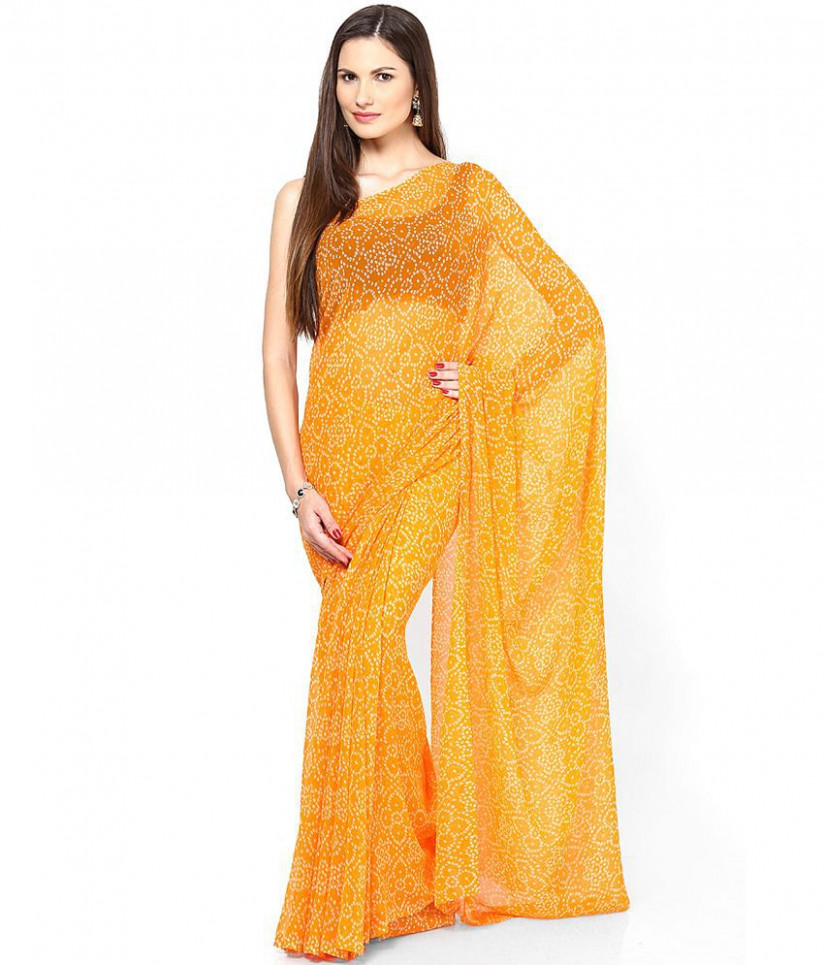 Rajasthani Sarees Yellow and Orange Chiffon Saree - Buy
