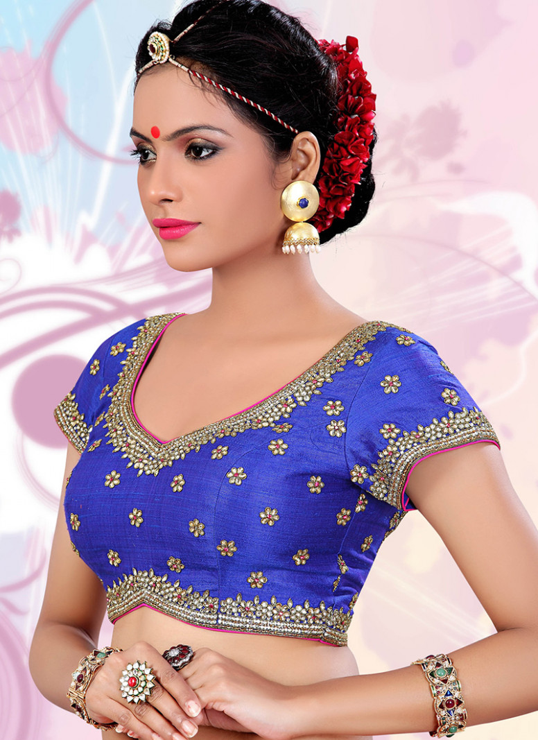 Raw silk blue readymade saree blouse - G3-RB0129