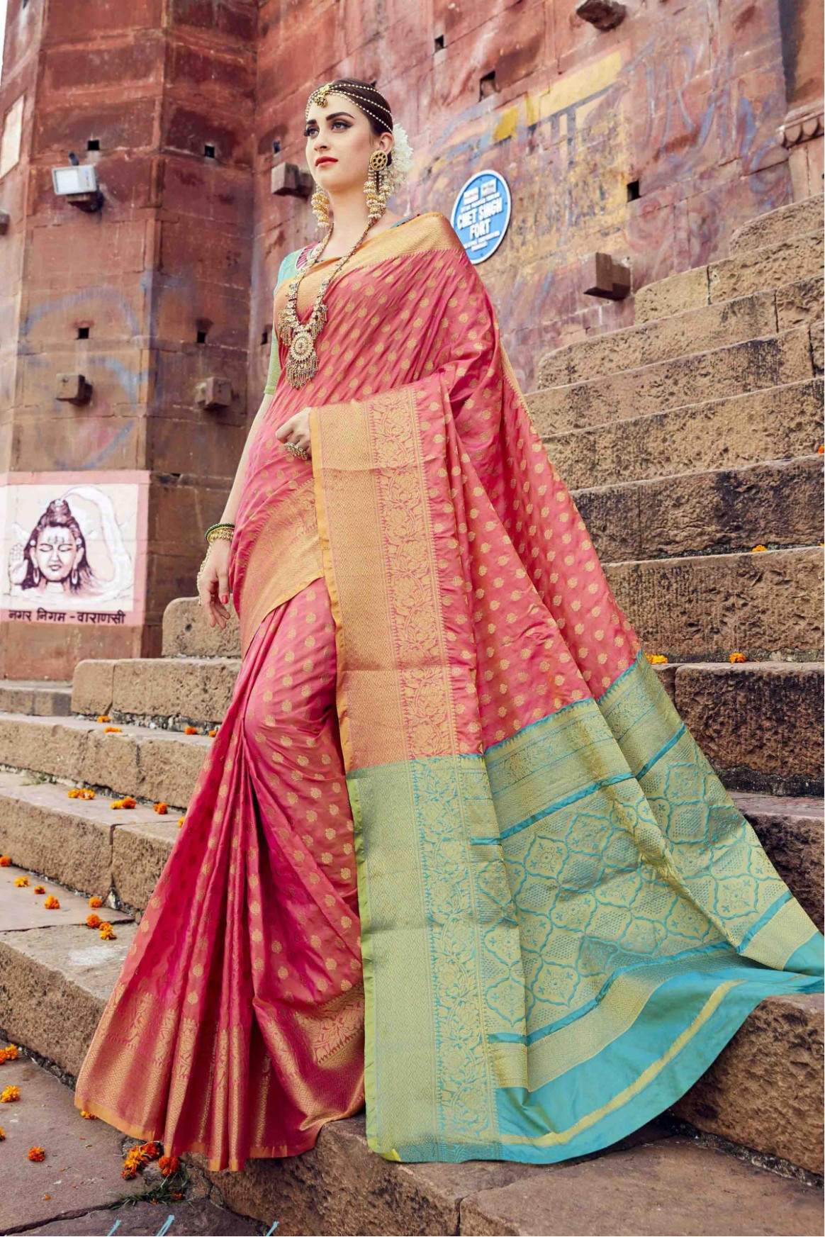 Raw Silk Saree In Peach Colour