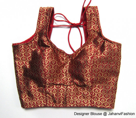 Readymade saree blouse with golden leaf on dark red  Etsy
