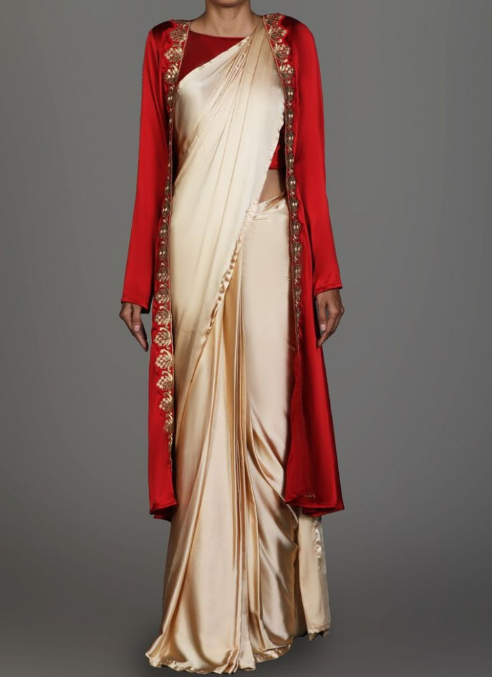 Red and Cream Jacket Style Saree in 2019  Saree look
