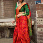Red and Green Patola Silk Saree