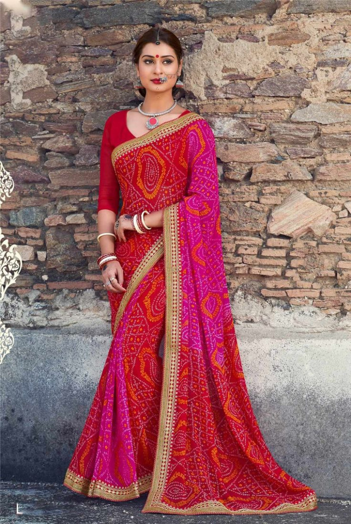 red bandhani saree  Casual saree, Saree designs, Bandhani