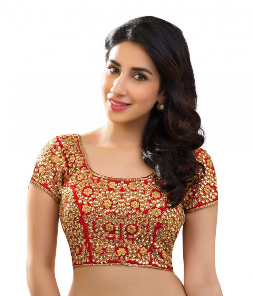 Red Embroidered Banglori Silk Saree Blouse Online