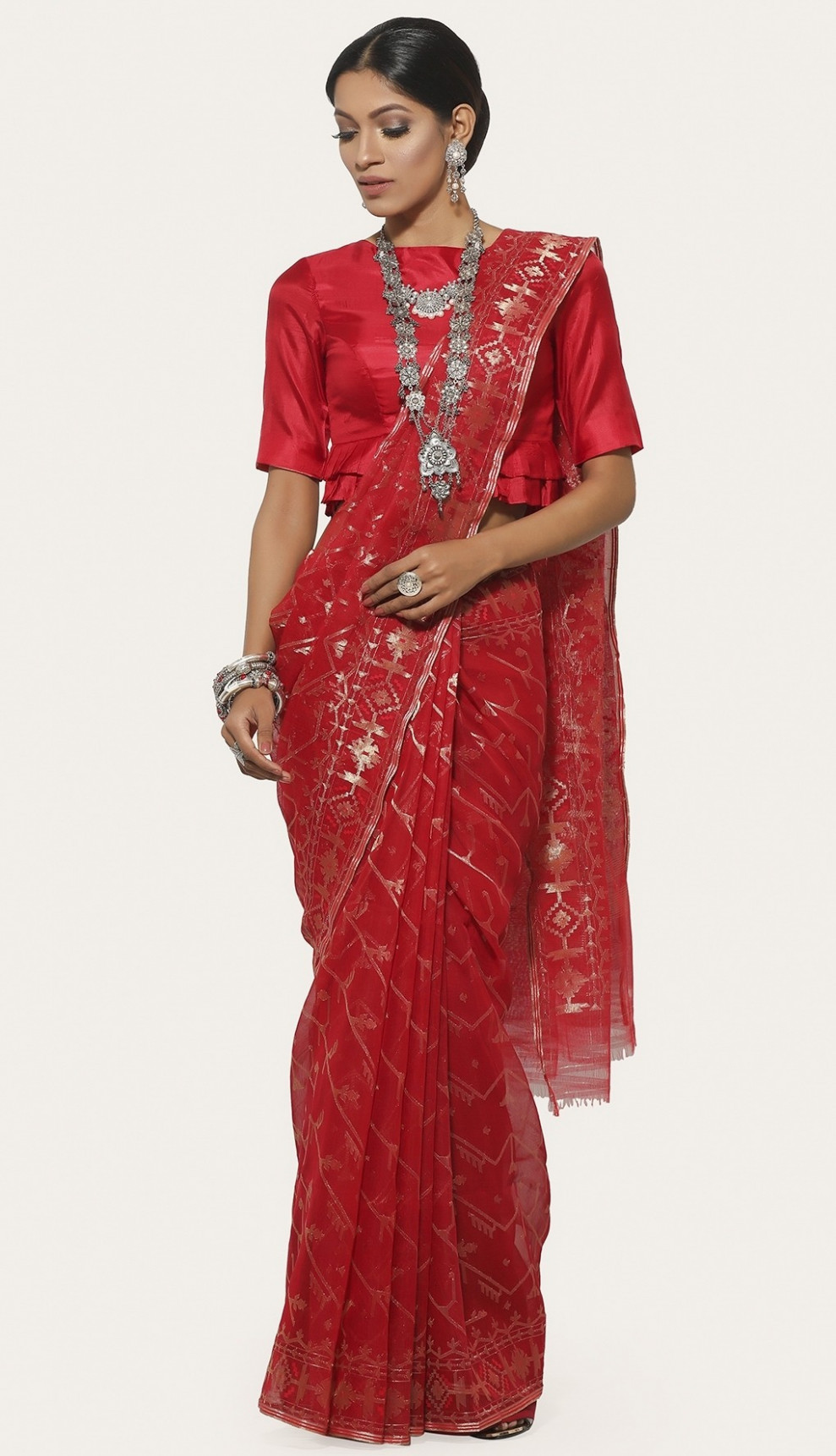 Red Half Silk Jamdani Saree at aarong.com