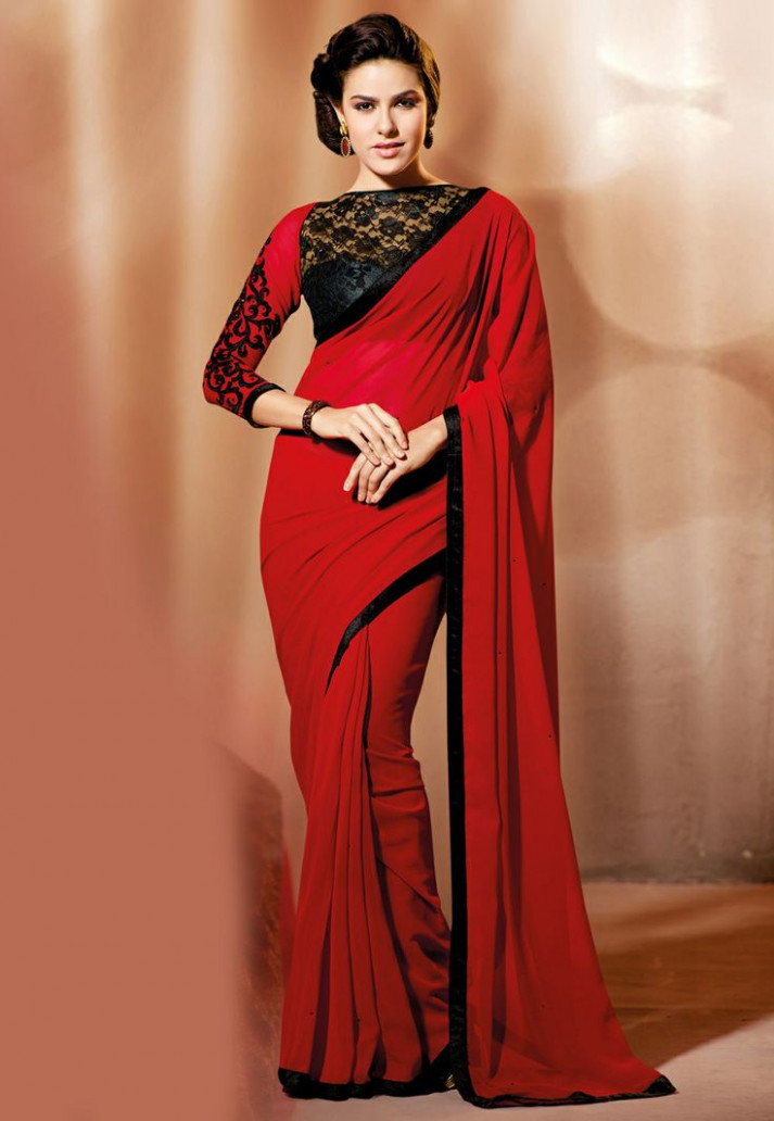 Red saree with lace blouse from utsav  Party wear sarees