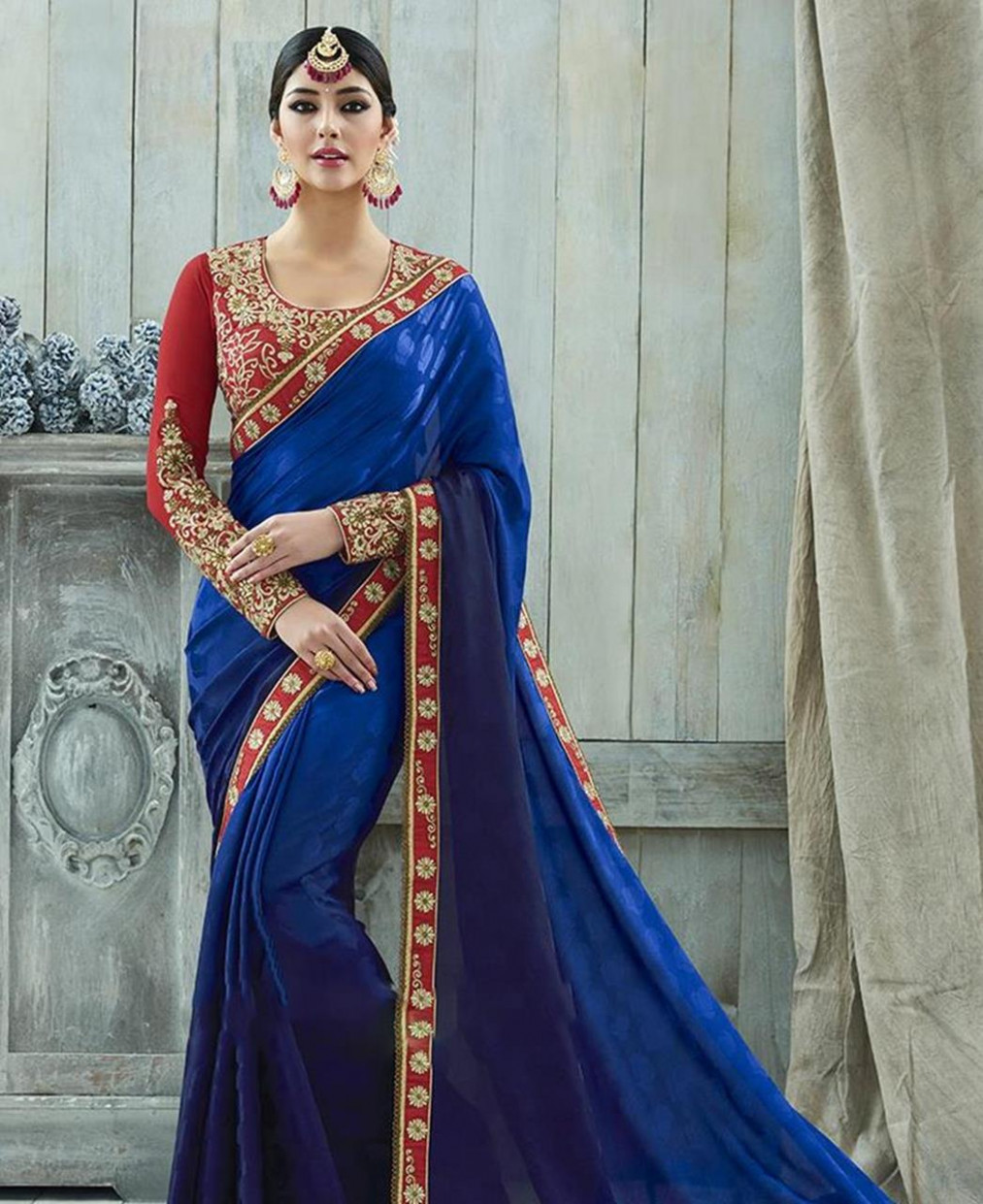 Red Saree With Royal Blue Blouse