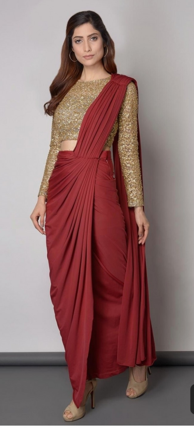 red slk ready to wear pre stitiched draped saree