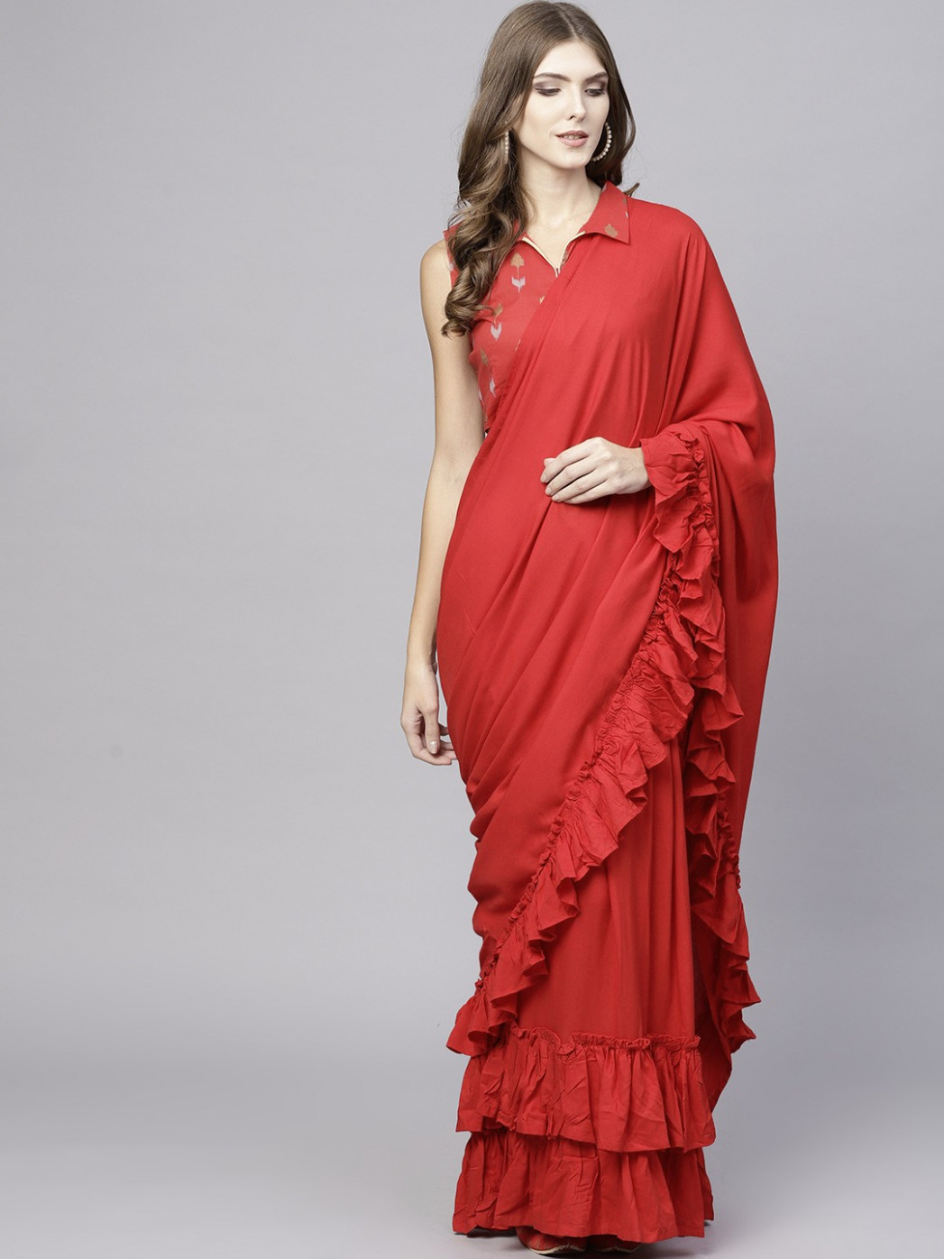 Red Sold ruffle Saree With Printed Blouse