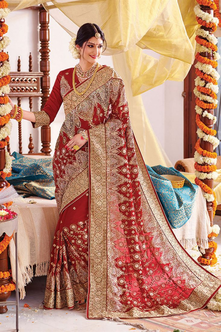 Red Wedding Bridal Embroidered Chiffon Saree