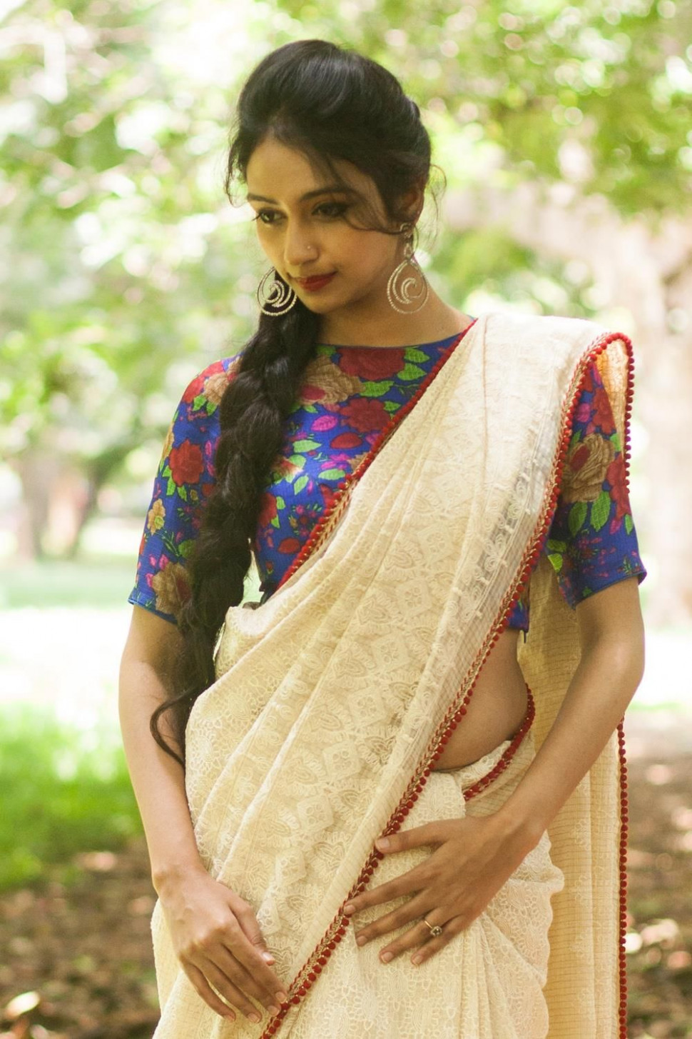 Romantic Ivory Lace Saree with Floral Blouse (With images