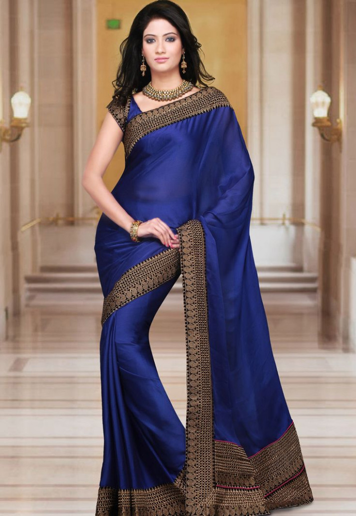 Royal Blue Faux Satin Chiffon Saree With Blouse http://www