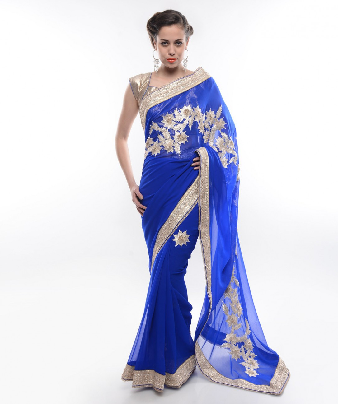 Royal blue pure georgette saree with two blouse-Online