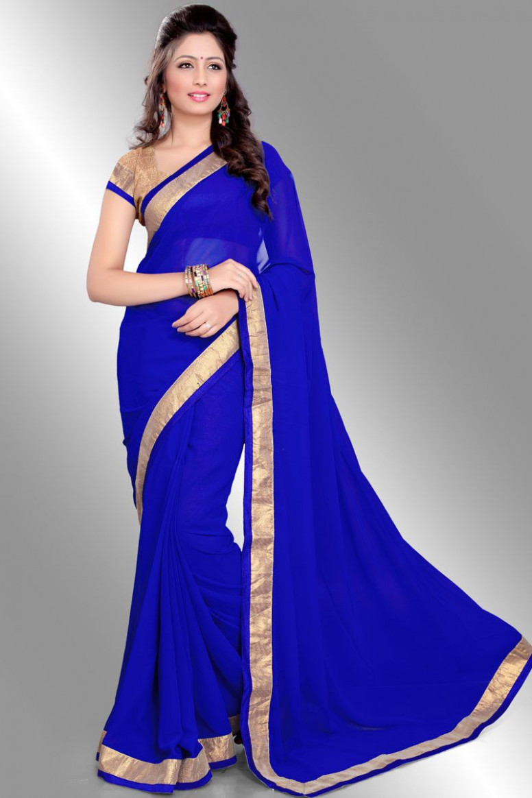 Royal blue saree with gold coloured borders. And a