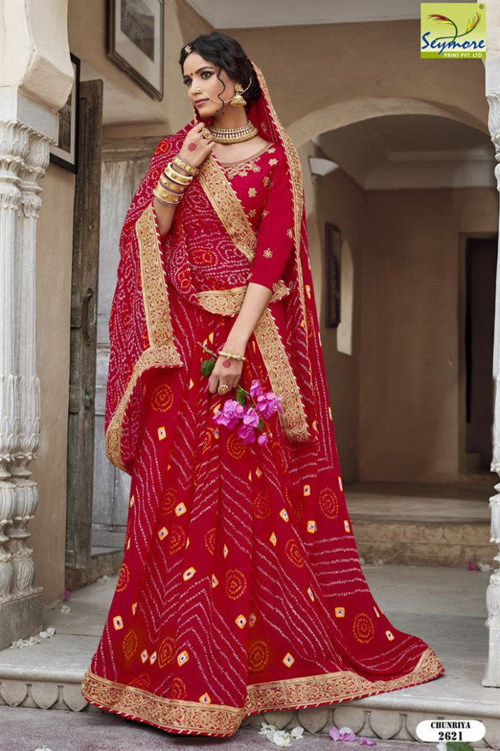 Royal Red Heavy Designer Georgette Bandhej Saree