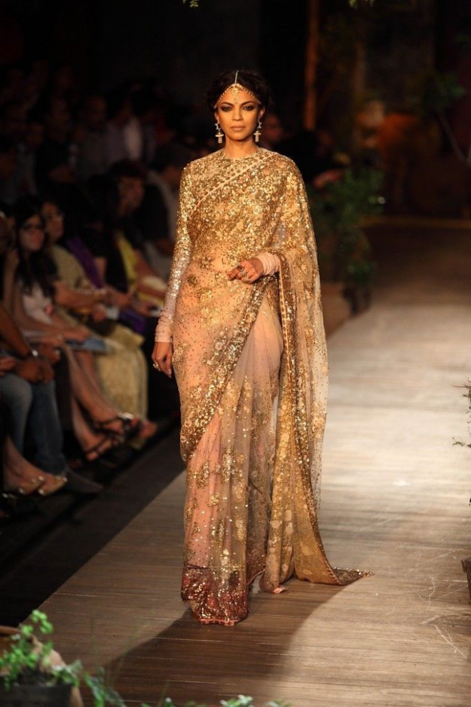 Sabyasachi 2013 Collection Gold Sequin Embellished Light