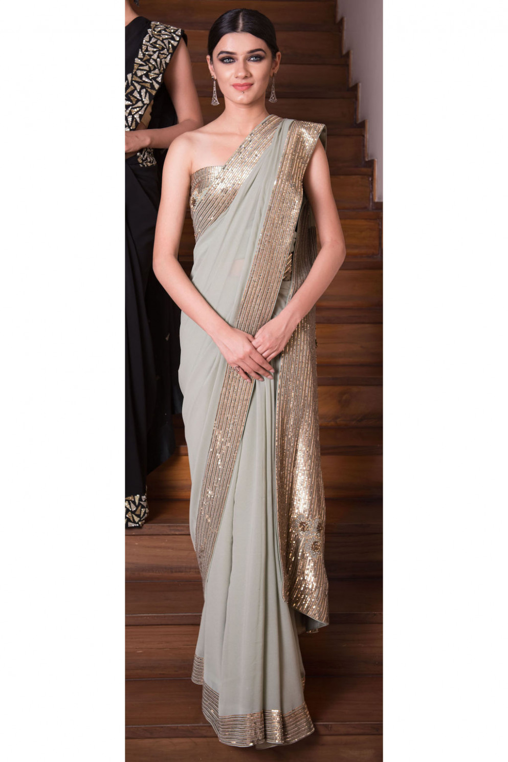 Sage green sequin embroidered saree and blouse set