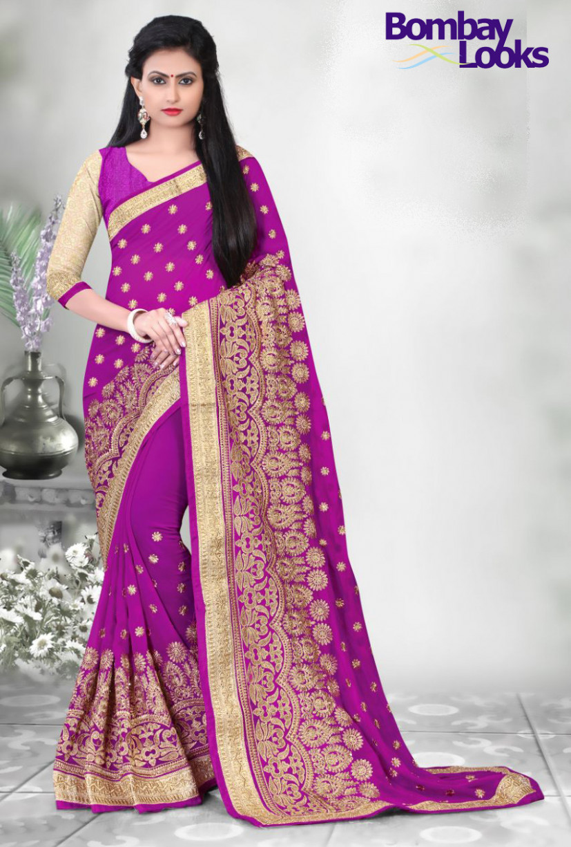 Sale Sarees: Beautiful Magenta saree with rich embroidery