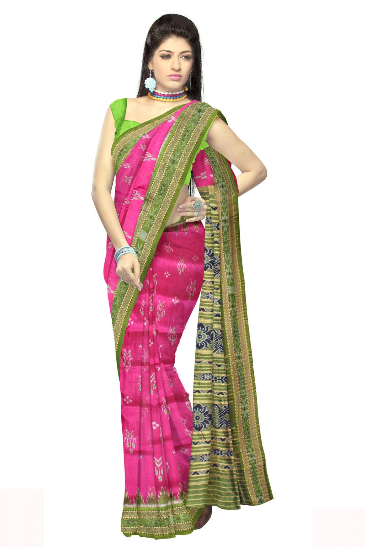 Sambalpuri pure silk animal print saree online  unnatisilks3