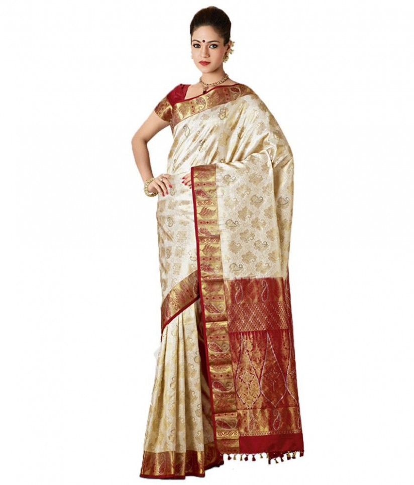 Samyakk Off-White & Red Kanchipuram Saree - Buy Samyakk