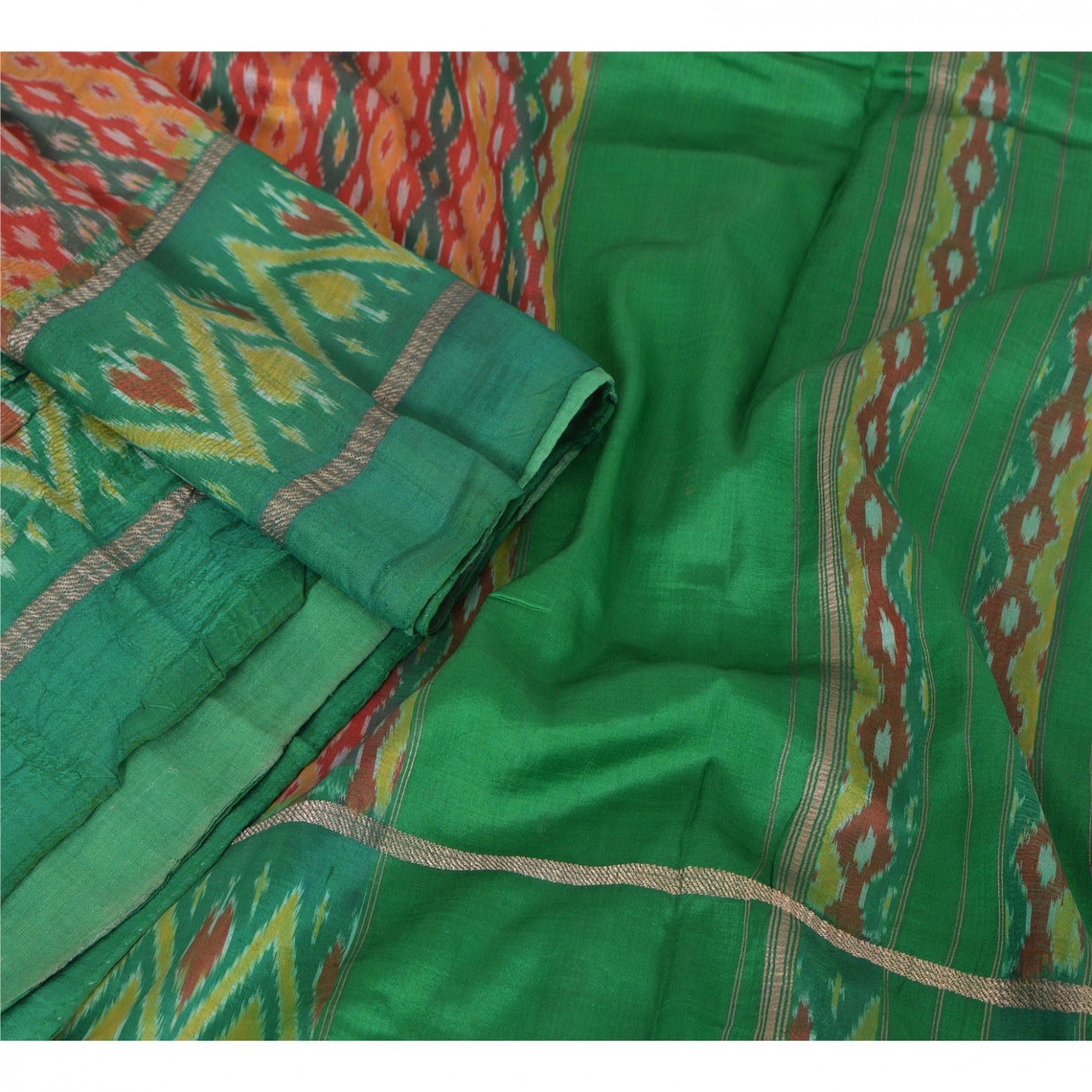 Sanskriti Vintage Indian Saree Woven Patola Sari Fabric