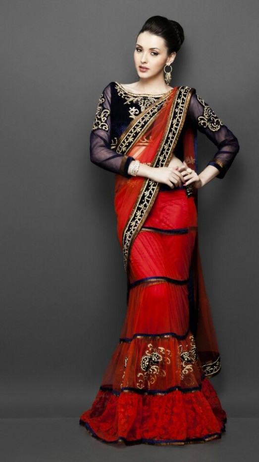 Saree blouse, Saree and Long sleeve on Pinterest