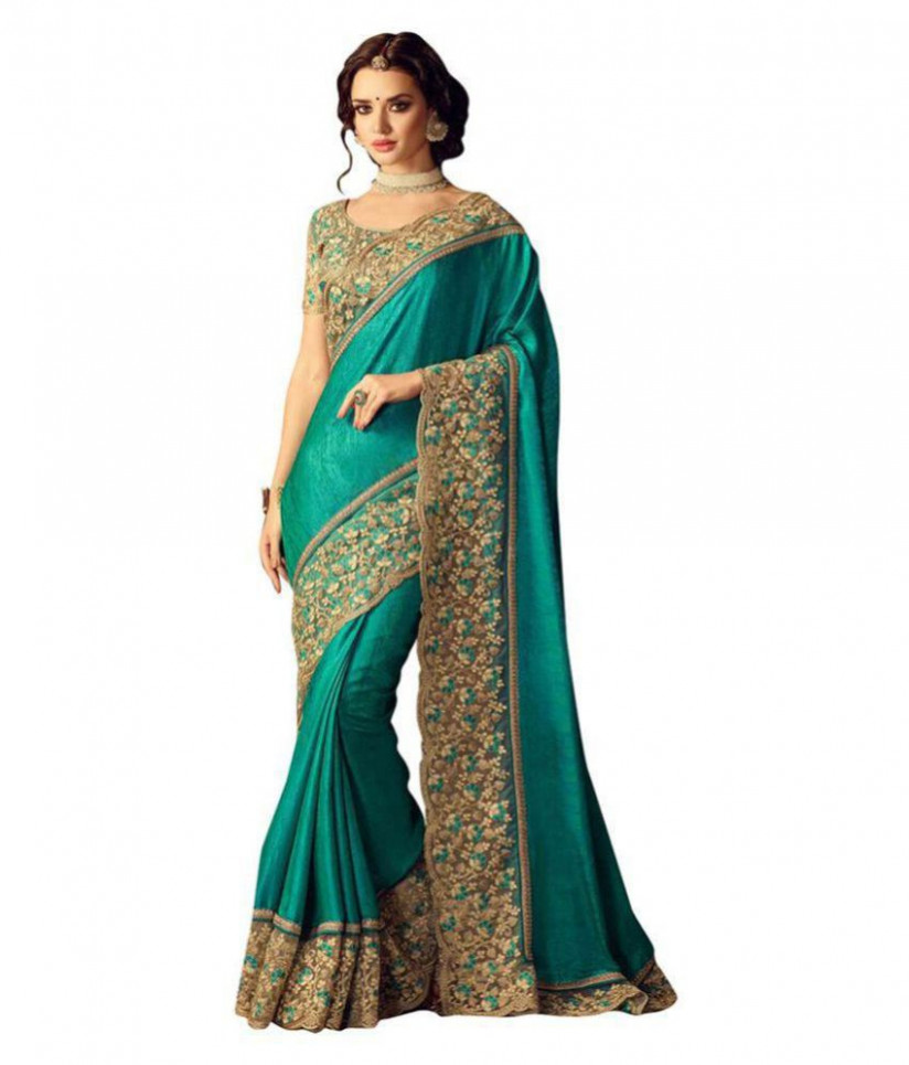 Saree For Beautiful lady Green and Beige Silk Saree - Buy