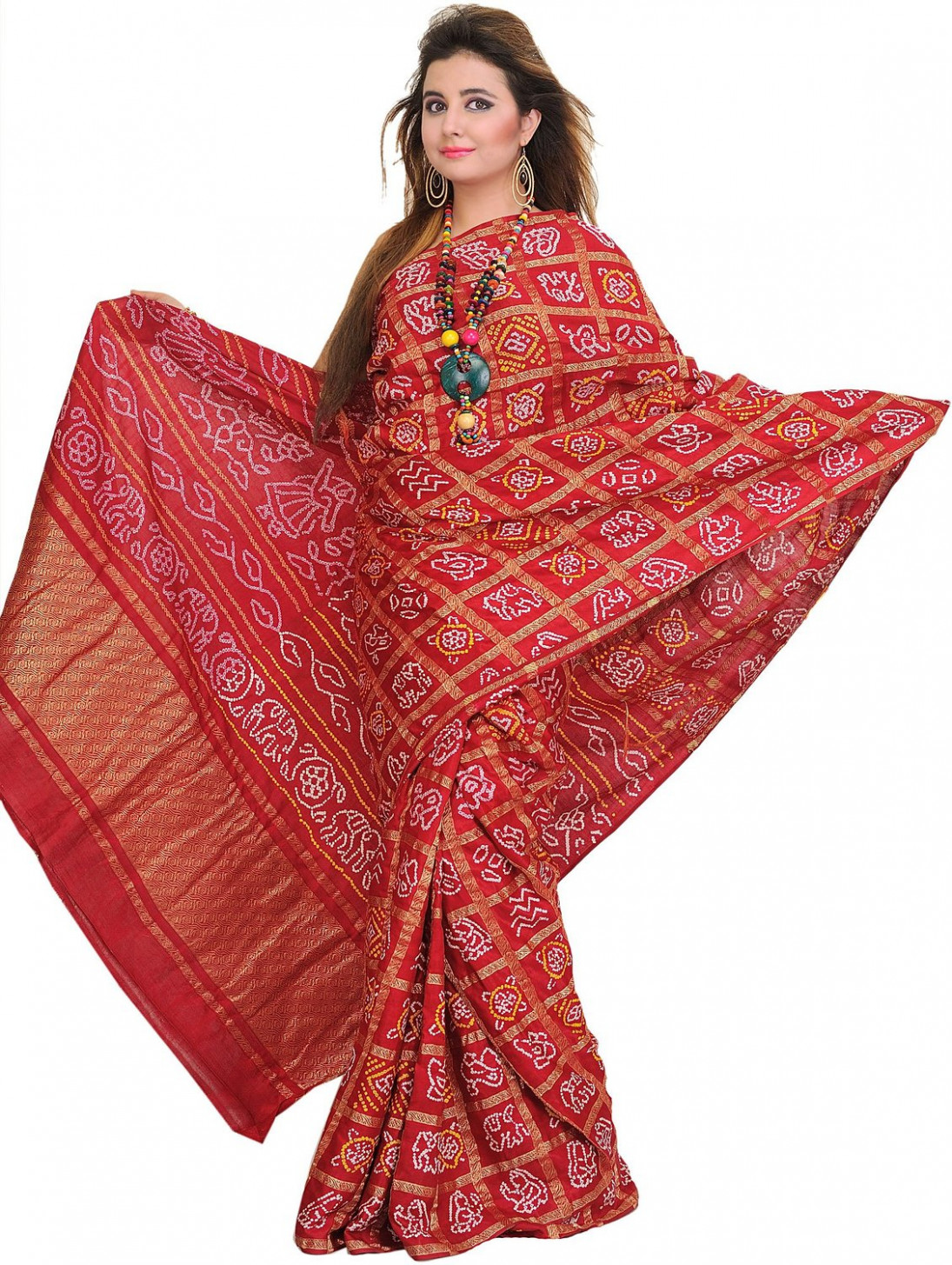 Saree Market: Bandhani Saree Red Colour
