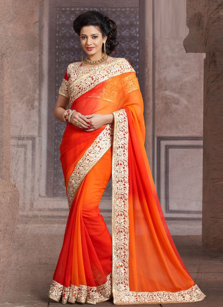 Saree Market: Bridal Saree Orange Colour