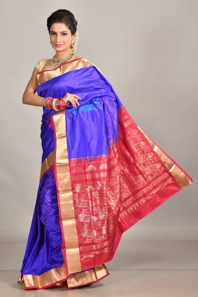 Saree Market: Kanjeevaram Silk Saree Royal Blue Colour Photos