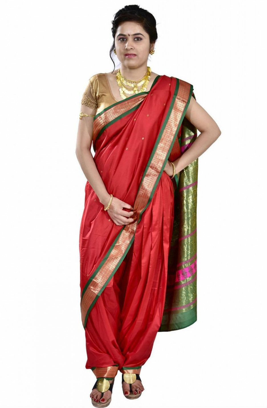 Saree Market: Lugade Nauvari Marathi Saree Red Colour