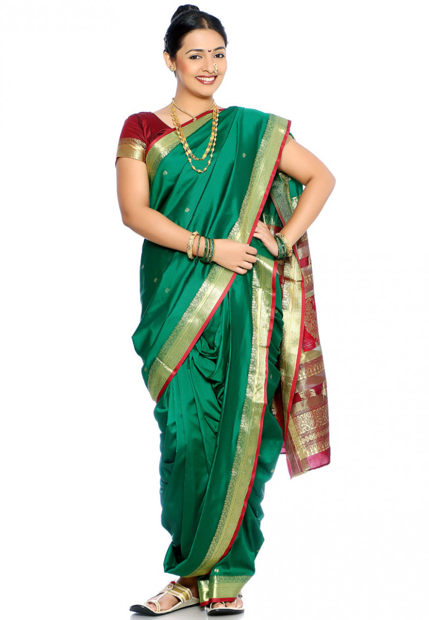 Saree Market: Maharashtrian Marathi Nauvari Saree Green Colour